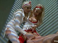 Sex addict dominated and double penetrated by two horny nurses....