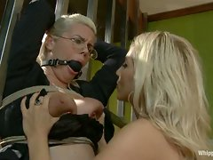 Tax collector bitch punished and fucked with huge strapon....