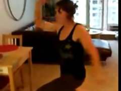 a crazy woman with hairy armpits is dancing