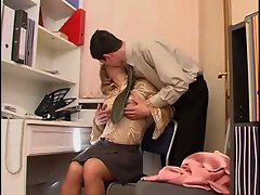 Milf in Stockings Teases the Lad