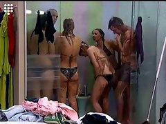 Big Brother NL Hot Blonde Teen Girl shower after wrestling