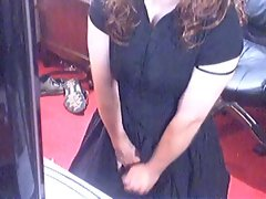 Crossdressed and cumming in black dress
