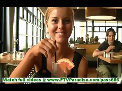 Jessi cute innocent blonde teen having dinner in restaurant