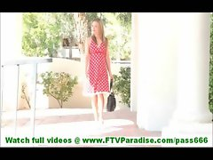 Carolyn badass blonde hottie flashing pussy and masturbating on balcony and walking naked