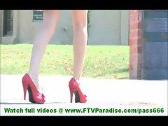 Karina incredibly sexy blonde girl flashing panties and flashing pussy outdoors