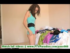 Malena sensual young brunette amateur undressing trying on underwear
