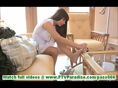 Cory hot slutty brunette with no panies painting toe nails and flashing pussy