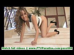 Ella brunette in heels and dress posing with no panties and toying pussy