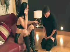 Sexy domina uses her gimp as an ashtray