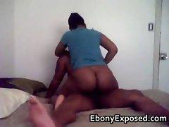 Black chick pounds her bubbly butt