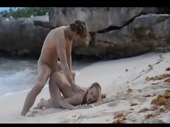 Extreme art sex of hot couple on beach