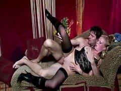 Horny real blonde gets a cumshot