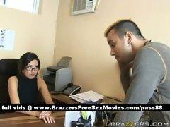 Amateur brunette slut at the office