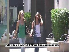 Independent cute teen girl flashing
