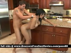 Super sexy brunette chick in the kitchen gets her pussy fucked