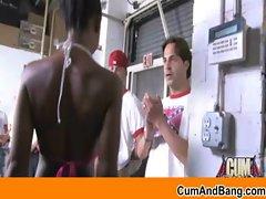Interracial gangbang Ebony slut sucking white cocks 24
