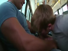 Ebony guy gets his hard cock blown on the public bus