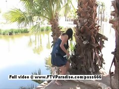 Independent Busty brunette girl toying pussy and squirting outdoor