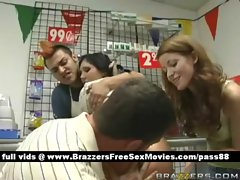 Busty horny brunette slut in a shop gets a blowjob