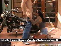 Mature naked brunette slut outside near a bike gets a blowjob