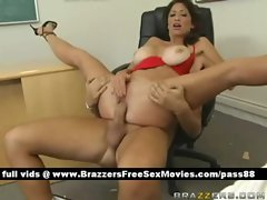 Mature busty brunette slut on the chair gets her pussy fucked hard