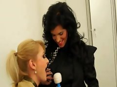 Sassy lesbos play with wand