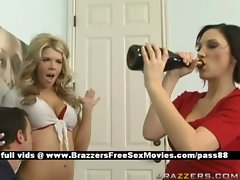 Hot schoolgirls in the classroom drinking