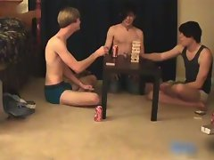 Three super cute twinks having a games gay sex