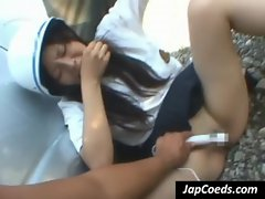 Asian coed eat two dicks outside