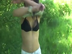 Horny teen sucks cock outdoors for cash in the bush