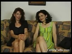 Mother and daughter lesbians and threesome at porn audition
