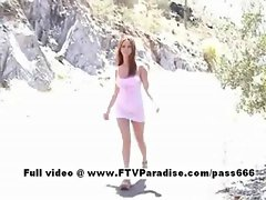 Awesome girl Jackie redhead girl outdoors posing