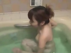 Young asian preggo blow cock in bath
