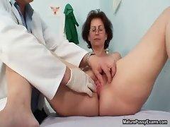 Grandma gets her freshly shaved pussy