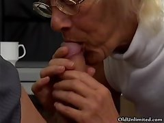 light-haired grandma sucking of a lucky young
