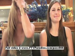 Leslie and Danielle stunning lesbian teen babes talking at restaurant