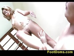 Bony femdom lady and two lads