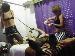 two Mistress Vero Rua and Naty use obese slave