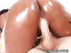 Afro Oiled Ass Whore Triplet Riding