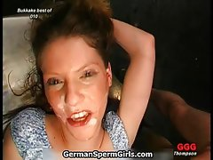 Wild german chick laughing with her face