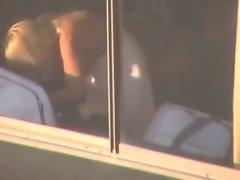 Vegas Blond Topless Voyeur in Window