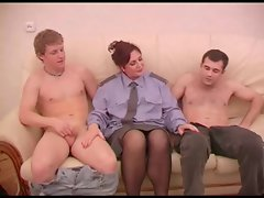 Attractive mature play police rol with two fellows