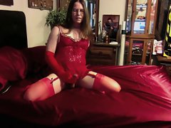 Joanie - Red Lace Babydoll and Garter Belt