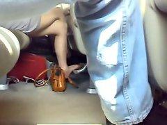 french luscious teen tan pantyhose in the train