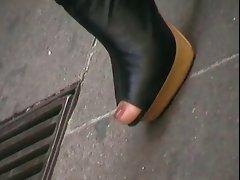 Nylon feet in heels