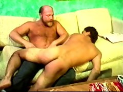 Young man spanked by angry hirsute dad