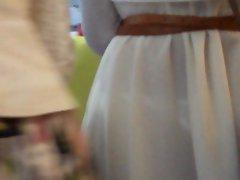 white dress white thong