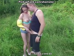 two girlie licks pecker in the park