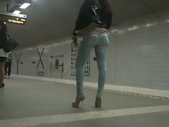 Heels and sweet backside in jeans