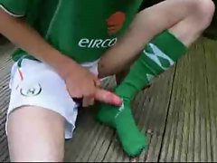 shooting cum on green soccer socks